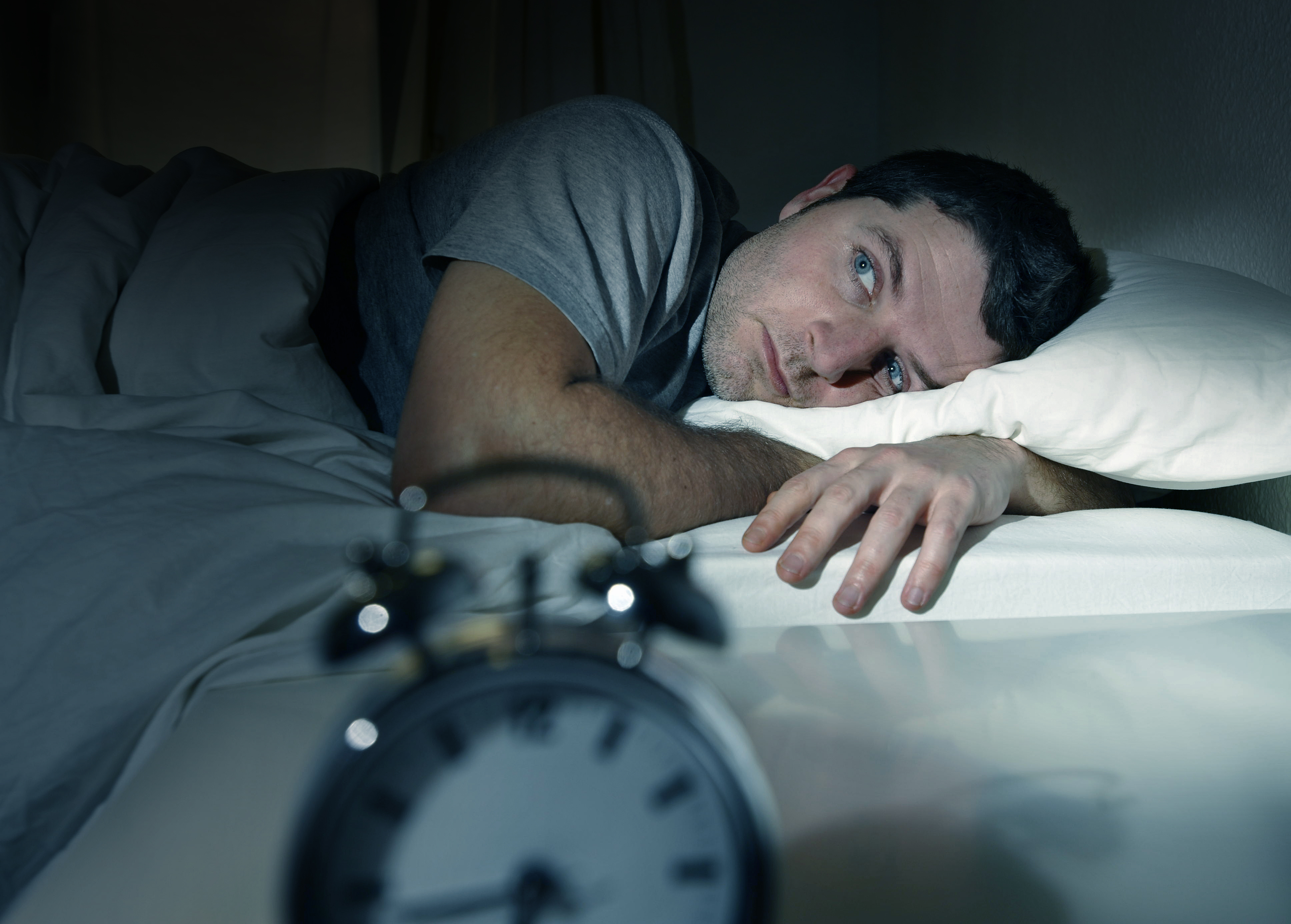 Difficulty Holding Eyes Open Bigstock Man In Bed With Eyes Opened Su